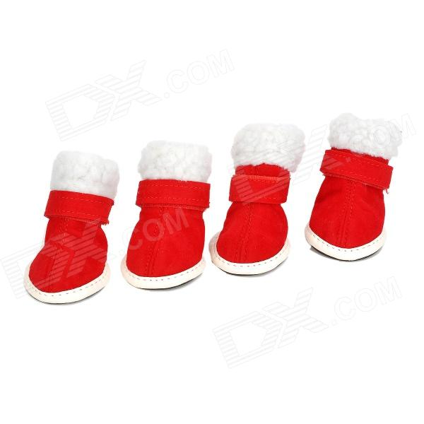 JUQI Christmas Shoes Boots for Pet Dog - Red + White (2 Pair / 3) 4 cute anti skidding pet shoes for puppy dog deep pink 4 pcs