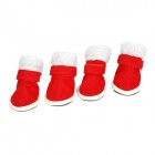 JUQI Christmas Shoes Boots for Pet Dog - Red + White (2 Pair / 3)