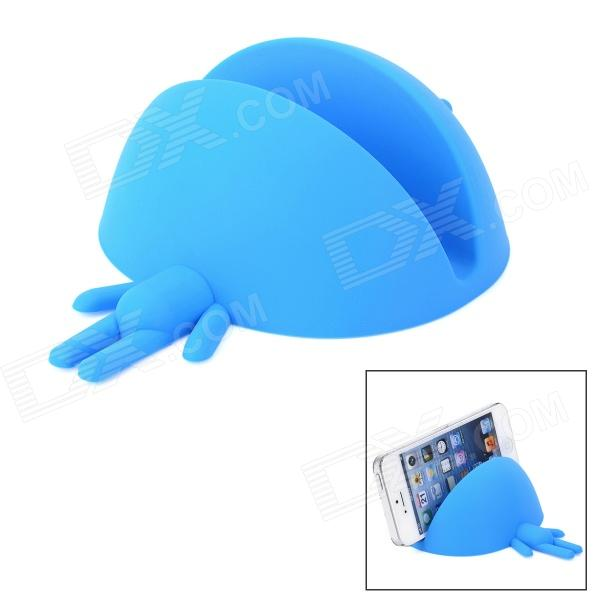 Novelty Cute Smiling Robot Style Desktop Flexible Silicone Holder Stand for Cellphones - Blue maoxin cat ear desktop stand finger grip for smartphone tablets baby blue