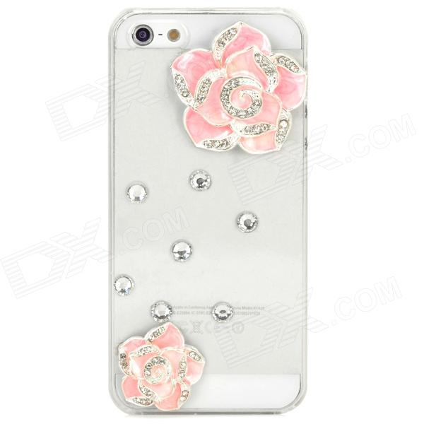 Camellia Decorated Protective Plastic Back Case for Iphone 5 / 5s - Transparent + Pink imd patterned tpu protection case for iphone 7 4 7 inch tribal giraffe