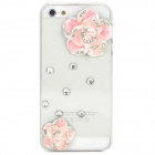 Camellia Decorated Protective Plastic Back Case for Iphone 5 / 5s - Transparent + Pink