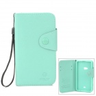 Stylish Flip-Open PU + TPU Case w/ Card Slots / Strap for Nokia 625 - Mint Green