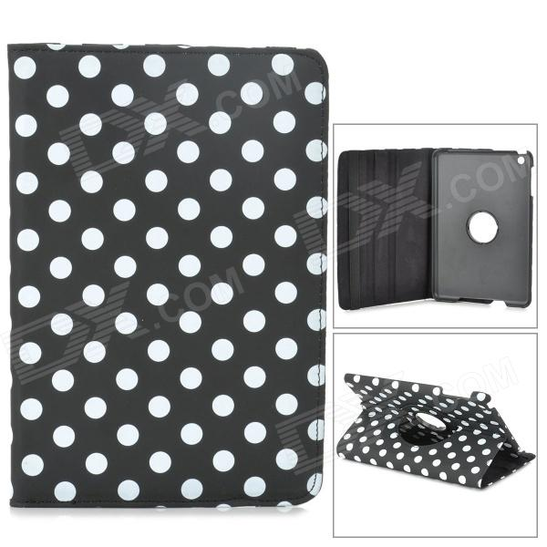 Polka Dot Pattern 360 Degree Protective PU Leather w/ Stand for Retina Ipad MINI - Black momax x lens 4 in 1 120 degree wide angle 15x macro lens 180 degree fisheye cpl filter for smartphone tablet silver