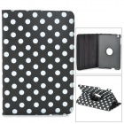Polka Dot Pattern 360 Degree Protective PU Leather w/ Stand for Retina Ipad MINI - Black