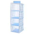 Convenient High Capacity 4-deck Storage Organizer Hanging Case Bag - Light Blue + White