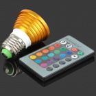 E27 3W 635lm1-LED RGB Light Spotlight w/ Remote Controller - Golden + White + Silver (85~265V)