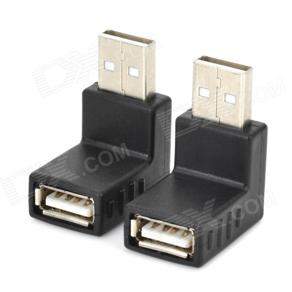 Right Angle USB 2.0 Female to Male Adapter - Black (2 PCS) лампа эра nled 451 5w bk black б0018829