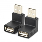 Right Angle USB 2.0 Female to Male Adapter - Black (2 PCS)