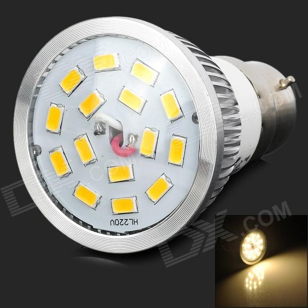 цена на LeXing LX-SD-010 B22 6W 500lm 3500K 15 SMD 5630 LED Warm White Light Spotlight - Silver + Yellow