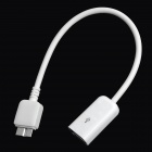 USB Female to USB Micro B Type Male OTG Data Cable - White