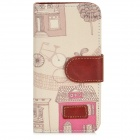 House + Bike Pattern Protective PU Leather Case w/ Stand for Iphone 5 - Beige + Pink + Brown