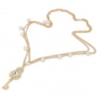 XFZM-1 Zinc Alloy Chain Key Style w/ Rhinestones Pendant Necklace for Women - Golden + White