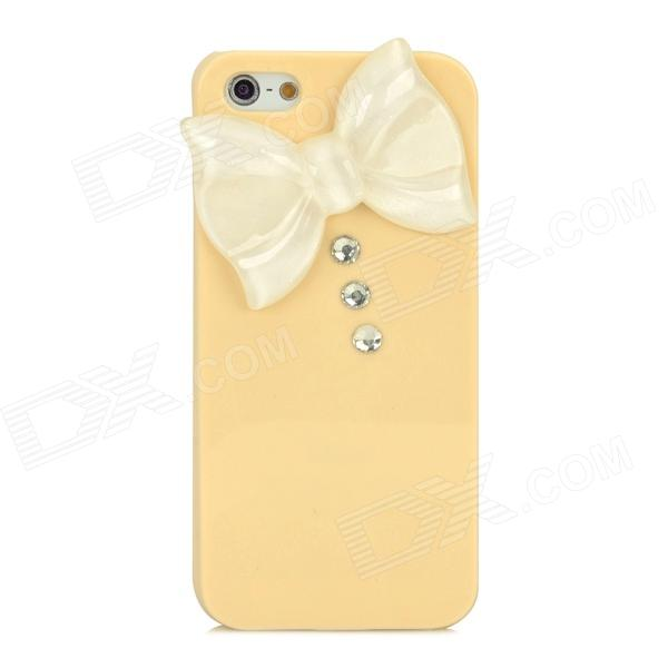 Bow Decorated Protective Plastic Back Case for Iphone 5 / 5s - Beige + White intermatic t106p3 timer switch 208v 277v 24 hr mechanical spdt w nema 3r plastic case beige