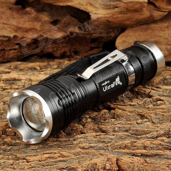UltraFire LW-31T 300lm 5-Mode White Zooming Flashlight w/ CREE XM-L T6 - Black + Silver (1 x 18650)