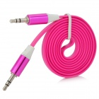3.5mm Male to Male Audio Flat Cable - Deep Pink + White (1m)
