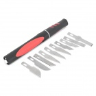 THD TH-982 Plastic + Stainless Steel Carving Knife Handle + 10-Blades - Black + Red + Silver