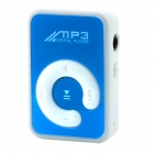 Mini Rechargeable MP3 Player w/ Clip / TF Card Slot - White + Blue