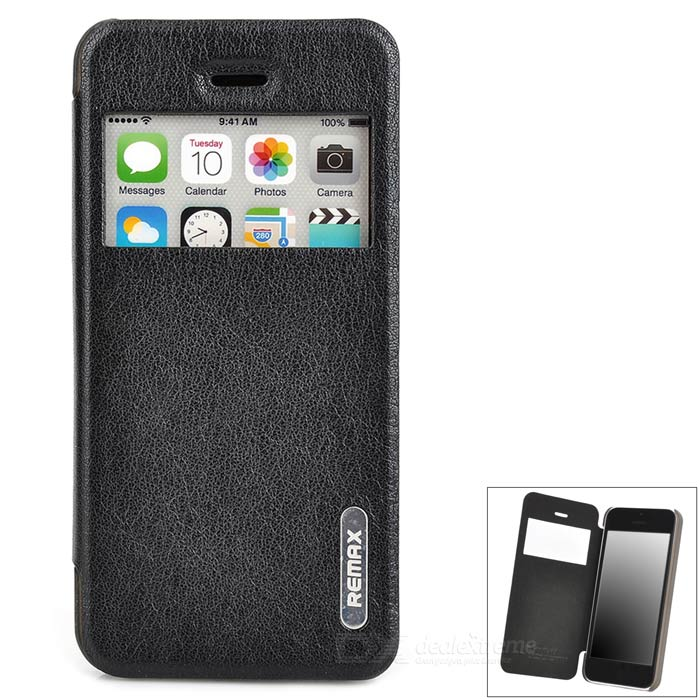 REMAX Stylish Flip-open PU + PC Case w/ 2.0 CID Window for Iphone 5C - Black stylish protective pu leather case for iphone 5c white transparent black