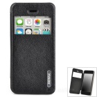 "REMAX Stylish Flip-open PU + PC Case w/ 2.0"" CID Window for Iphone 5C - Black"