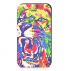 Tiger Head Pattern Protective PU Leather Case for Iphone 4 - Multicolored