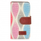 Leaf Pattern Protective PU Leather Case w/ Stand for Iphone 5 - White + Red + Green + Blue