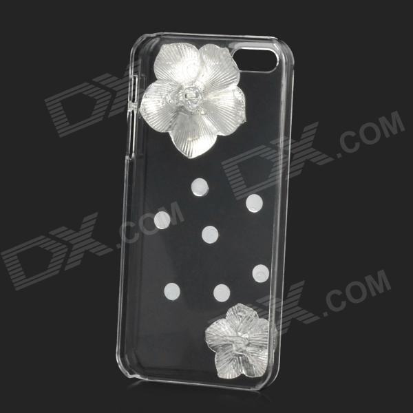 Camellia Decorated Protective Plastic Back Case for Iphone 5 / 5s - White + Transparent nillkin protective matte plastic back case w screen protector for iphone 6 4 7 golden