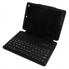 Wireless Bluetooth V3.0 64-Key Keyboard Protective PU Leather Case for Ipad AIR - Black