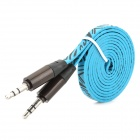 Zebra-Stripe Pattern 3.5mm Male to Male Flat Audio Cable - Blue + Black (100CM)