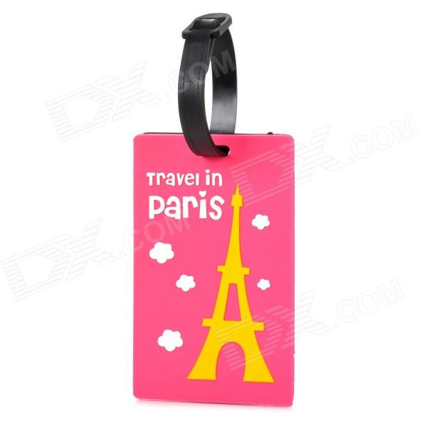 Travel PVC Luggage Suitcase ID Tag - Deep Pink + Black