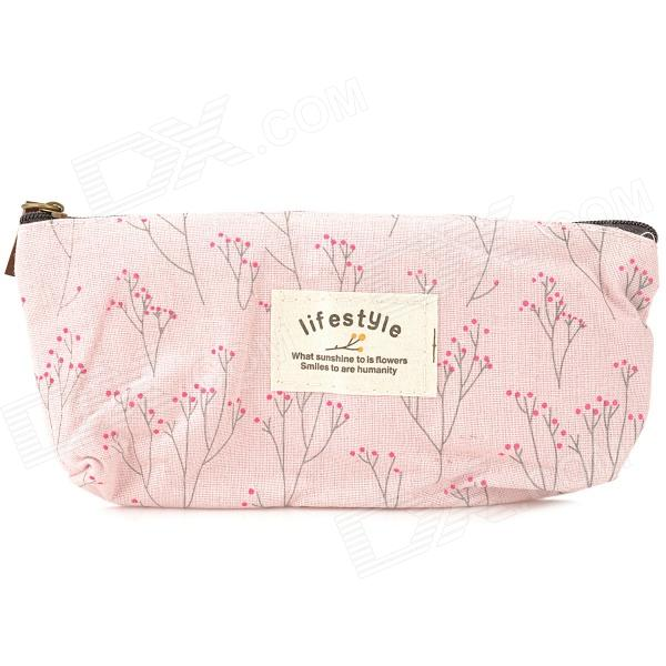 Fashion Canvas Pencil Pen Bag Floral Pouch - Pink + Deep Pink + Grey