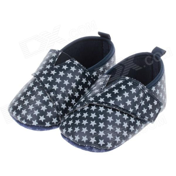 Cute Little Stars Style PU + Cotton Velcro Comfortable Baby Shoes - White + Black (6~9 Month / Pair)