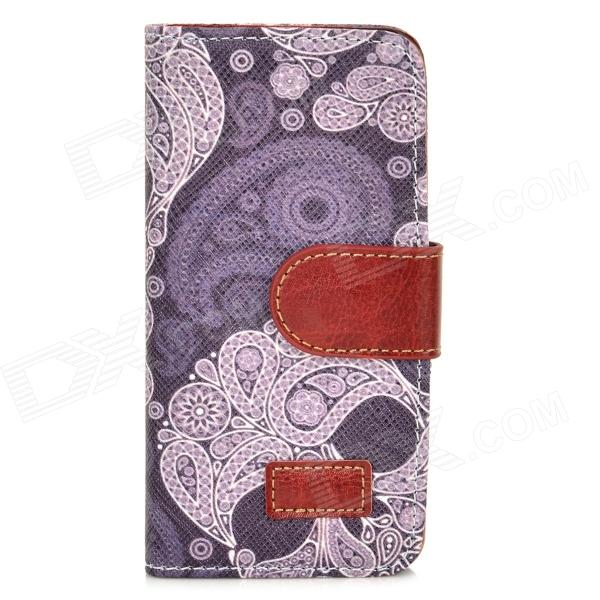 все цены на Flower Pattern Protective PU Leather Case for Iphone 5 - Purplish Grey + Brown онлайн