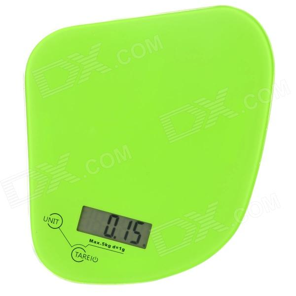 "1.8"" LED Electronic Digital Kitchen Scale - Green + Black (5kg / 1g / 1 x CR2032)"