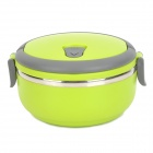 A084 Stainless Steel Seal Tight Thermal Lunch Box - Green + Grey + Silver