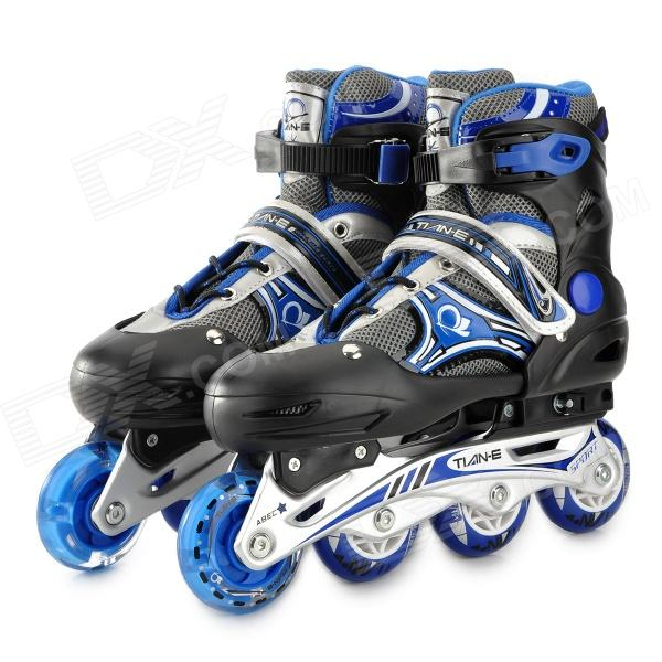 TIAN-E TE-665 Sport Aluminum Alloy + PE + PP Roller Skates - Black + Blue + Silver (Pair / M) girls and ladies favorite white roller skates with full grain genuine leather dual lane roller skate shoes for adult skating