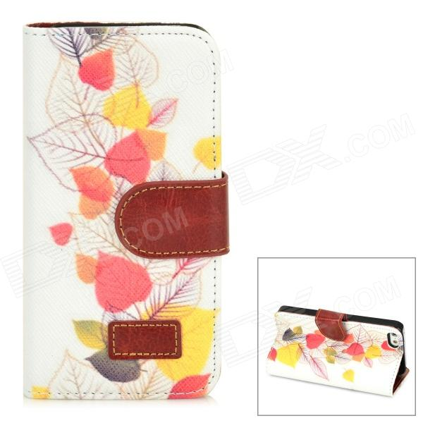 Leaves Pattern Protective PU Leather Case w/ Stand + Card Slots for Iphone 5 - White + Multicolored glossy leather wallet stand cover with 5 card slots for iphone 7 4 7 white
