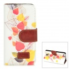 Leaves Pattern Protective PU Leather Case w/ Stand + Card Slots for Iphone 5 - White + Multicolored