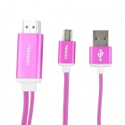 MHL Micro USB to HDMI HDTV Adapter Cable for Samsung Galaxy S3 / Note 2 / 3 - Deep Pink (197cm)