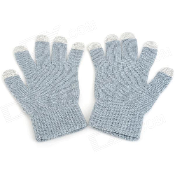 Universal Capacitive Screen Touching Hand Warmer Knitwear Gloves for Iphone + More - Grey (Pair)