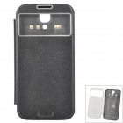 Simple Plain Flip-open PU Case w/ CID Window + Wireless Charging Receiver Circuit for Samsung S4