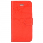 FLOWER SHOW Stylish Flip-open PU Leather Case w/ Card Slot for Iphone 5 - Red