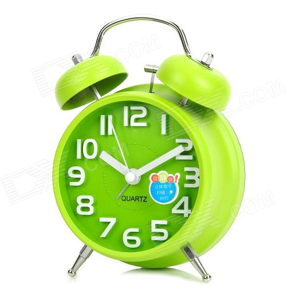 C1GL 6030 Fashionable Dual Bell Analog Quartz Clock - Green (1 x AA)