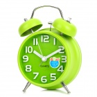 6030 Fashionable Dual Bell Analog Quartz Clock - Green (1 x AA)