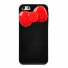 Bow Decorated Protective Plastic Back Case for Iphone 5 / 5s - Black + Red