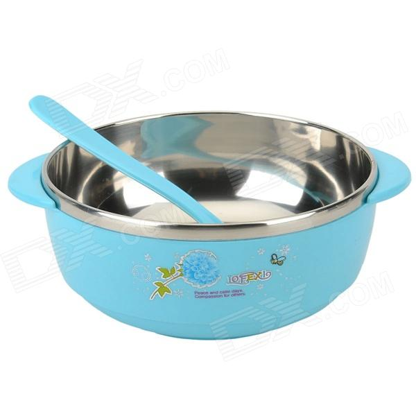 S02JX8854 Portable Stainless Steel + Plastic Travel Insulation Bowl - Light Blue + Silver