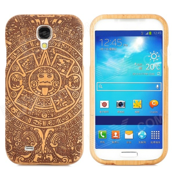 Retro Maya Pattern Wooden Back Case for Samsung i9500 - Brown + Black