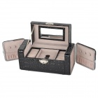 Crocdile Pattern PU Leather Automatic Cosmetic / Jewelry Storage Box w/ Mirror - Black