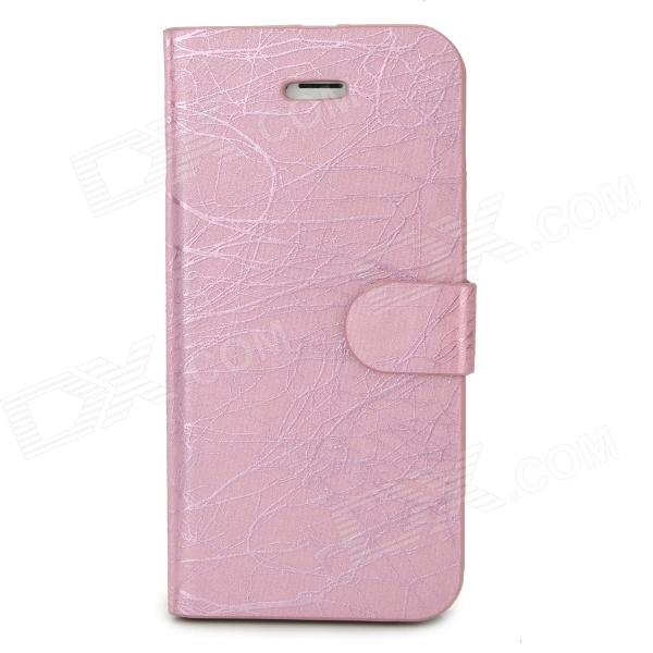 FLOWER SHOW Protective Flip Open PU Case w/ Stand / Card Slots for Iphone 5 - Pink flower show protective pu leather plastic case w stand for iphone 5 silver