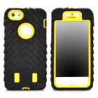 Tyre Pattern Protective Silicone + PC Back Case for Iphone 5 / 5s - Black + Yellow