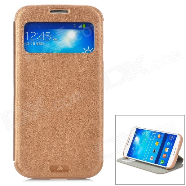 KALAIDENG Protective PU Case w/ Display Window / Stand for Samsung Galaxy S4 i9500 - Coffee kalaideng protective pu leather case cover w stand for samsung galaxy note 4 black